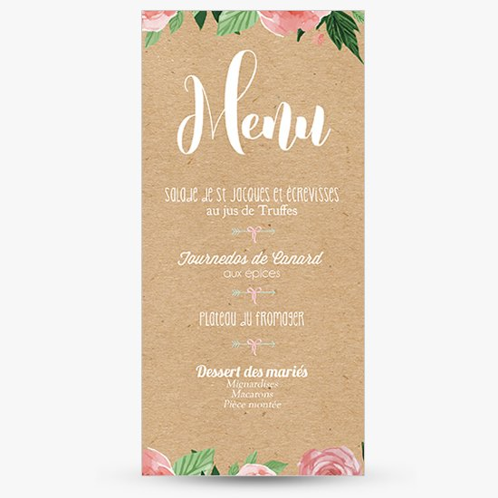 menu mariage champ tre ardoise kraft sweet paper. Black Bedroom Furniture Sets. Home Design Ideas