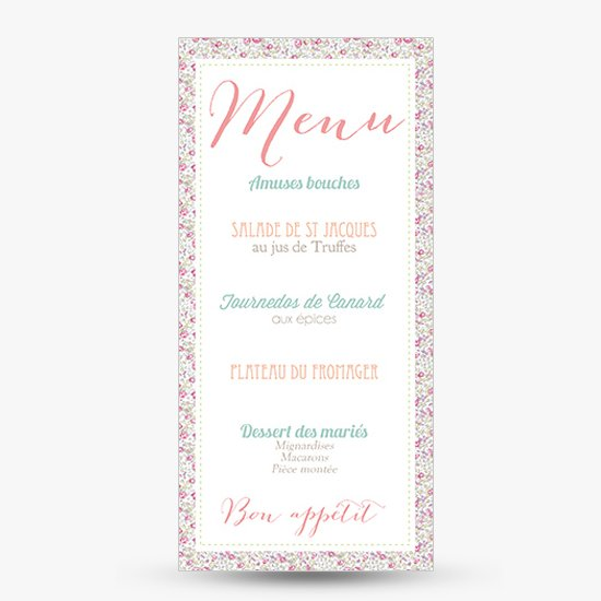 menu mariage liberty eloise r tro rose sweet paper. Black Bedroom Furniture Sets. Home Design Ideas