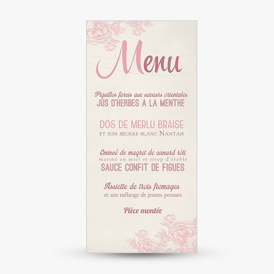 Hervorragend Menu mariage old flower champetre retro | Sweet Paper BV72