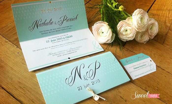 Favori faire part mariage mint | Sweet Paper WH06