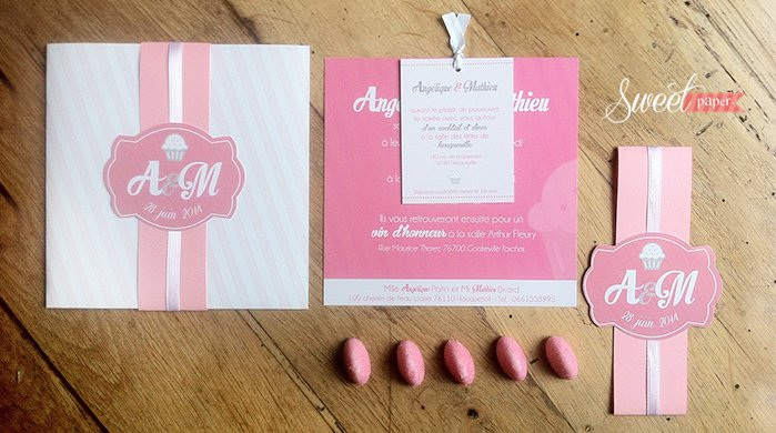Top faire part mariage gourmandise candy bar rose et blanc | Sweet Paper HL02