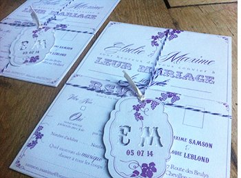 faire part mariage violet sweet paper. Black Bedroom Furniture Sets. Home Design Ideas