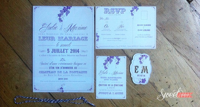 faire part mariage am ricain et vignes vintage beige violet sweet paper. Black Bedroom Furniture Sets. Home Design Ideas