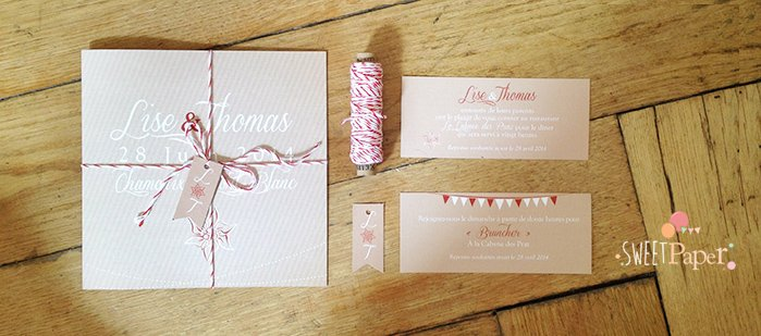 faire part mariage kraft rouge sweet paper. Black Bedroom Furniture Sets. Home Design Ideas