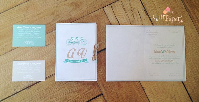 Populaire faire part mariage mint | Sweet Paper LY75