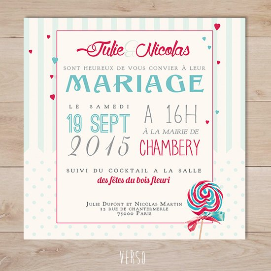 Top faire part mariage rétro gourmandise lollipops | Sweet Paper HL02