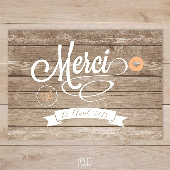 Connu Remerciements mariage in the wood   Sweet Paper PX34