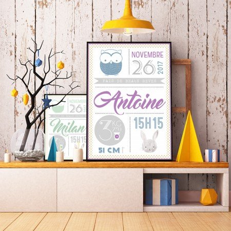 affiche naissance sweet paper. Black Bedroom Furniture Sets. Home Design Ideas