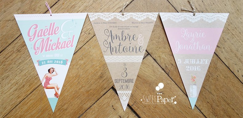 Favori faire part fanion | Sweet Paper MI37