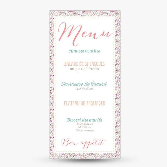 Populaires Menu mariage liberty eloise rétro rose | Sweet Paper UM51