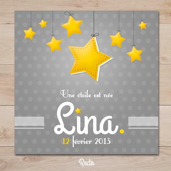 Extrêmement Faire part naissance petite étoile gris et jaune | Sweet Paper IG15