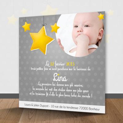 faire part de naissance theme étoiles gris et jaune