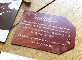 carton d'invitation repas en chocolat