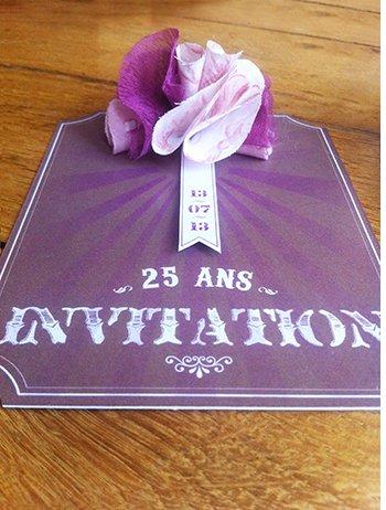 invitation anniversaire forme fanion rétro vintage 25 ans   Sweet Paper