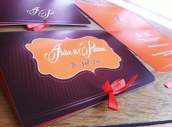 faire part mariage baroque orange et chocolat