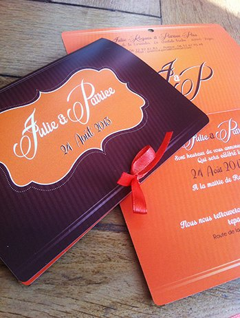 faire part de mariage orange et chocolat coins ronds