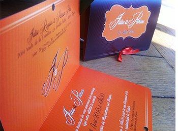 faire part mariage orange et chocolat moderne et original