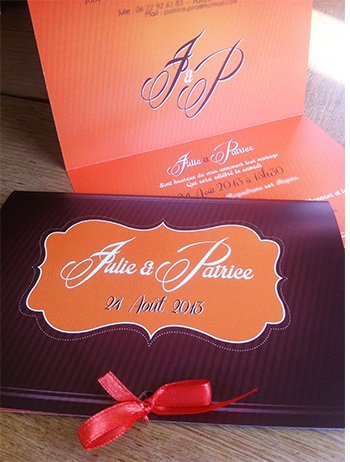 faire part mariage original sur mesure orange