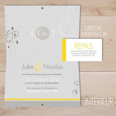 faire-part-mariage-moderne-gris-jaune-blanc-fleur-coquelicot3