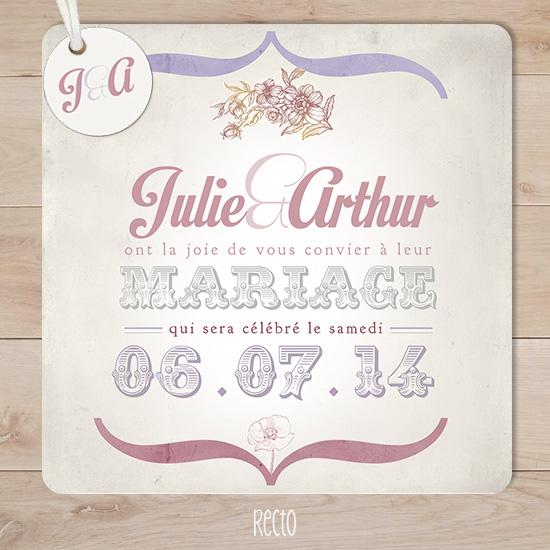 Bevorzugt faire part mariage retro vintage champêtre mauve rose | Sweet Paper IG94