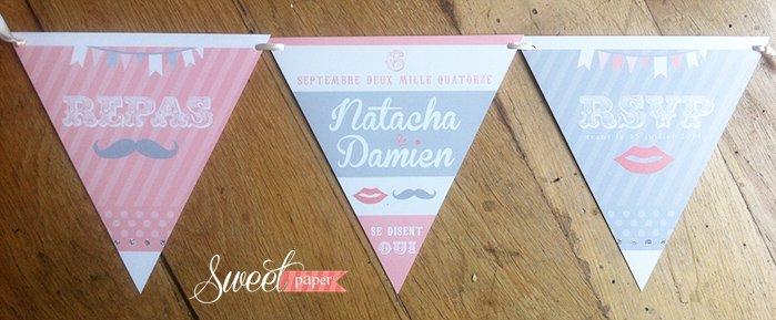 fairepart-mariage-fanion-americain-vintage-retro-moustache-rose-gris-paillette