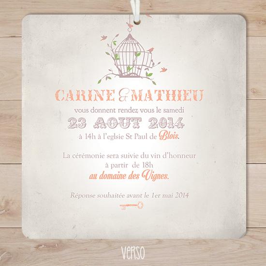 Gut bekannt faire part mariage retro vintage boheme oiseaux corail | Sweet Paper AL42