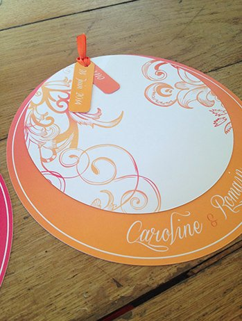 faire-part-mariage-rond-moderne-orange-fuschia-original