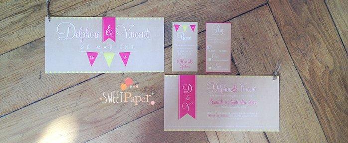 faire-part-mariage-vintage-kraft-rose-jaune-fanions