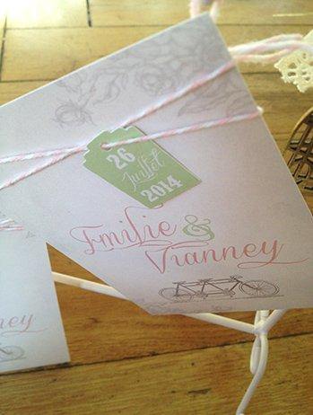 faire-part-mariage-vintage-tandem-fleur-baker-twine-gris-rose