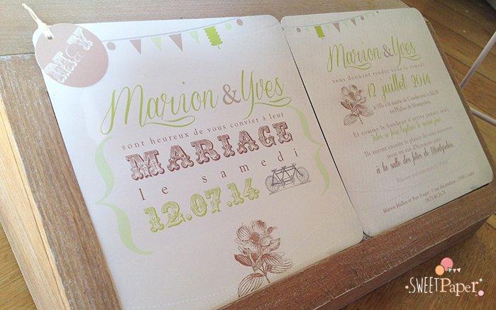 faire-part-mariage-vintage-vert-anis-chocolat-tandem-amerciain