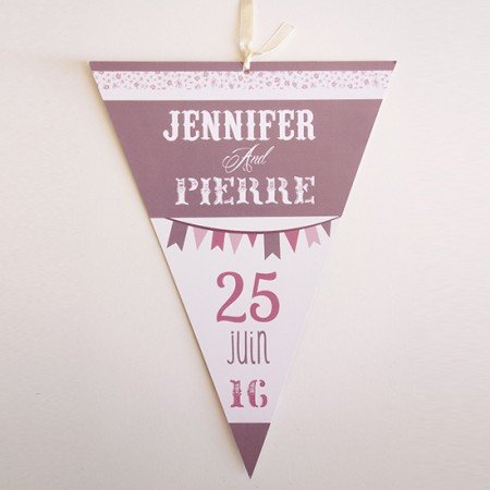 faire-part-mariage-forme-fanion-liberty-retro-vintage-violet-vieux-rose