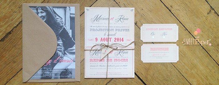 fairepart-mariage-cinema-vintage-kraft-corail