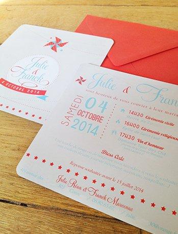 fairepart-mariage-retro-rouge-turquoise-etoile-ancien-moulin-vent