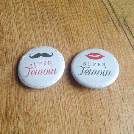 badge mariage super témoins retro moustache bouche