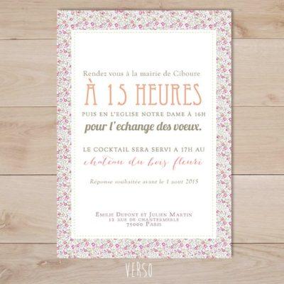 faire part mariage liberty champêtre vintage rose