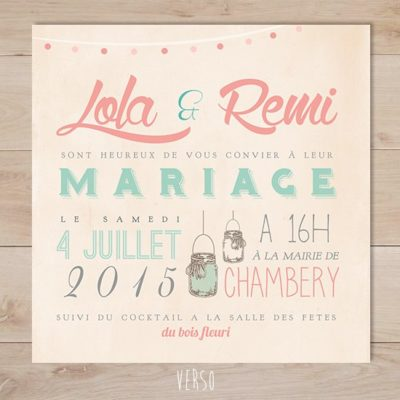 faire part mariage retro vintage mason jar typo