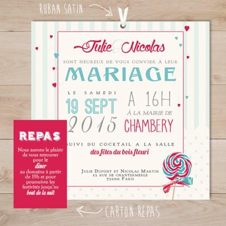 Populaire faire part mariage rétro gourmandise lollipops | Sweet Paper OI84