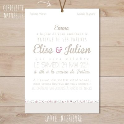 faire part mariage taupe liberty retro rose