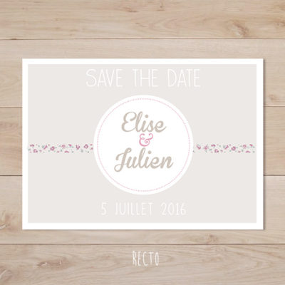 save the date mariage retro taupe liberty vieux rose
