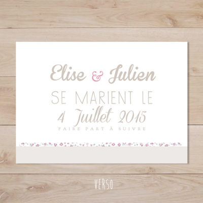 save the date mariage retro taupe liberty rose