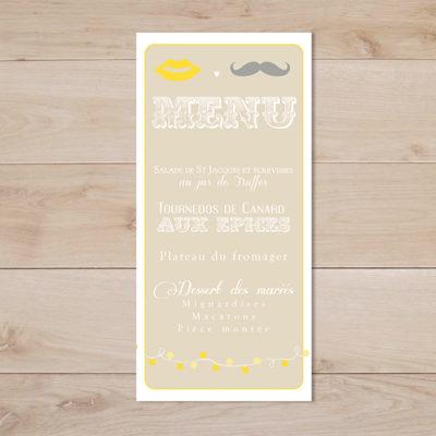 menu mariage vintage jaune beige moustache