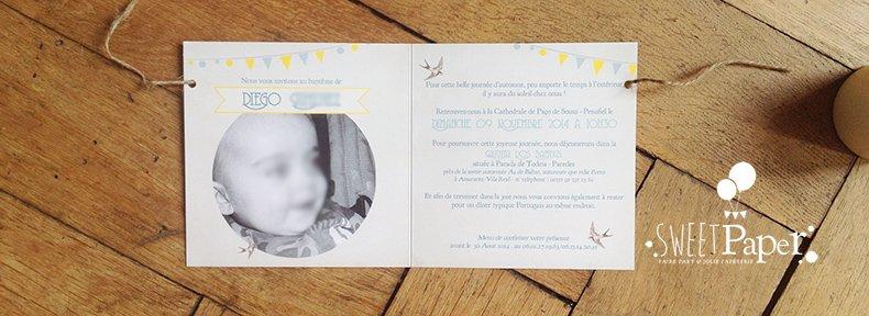 12-fairepart-naissance-bapteme-retro-fanion-hirondelles-jaune-bleu