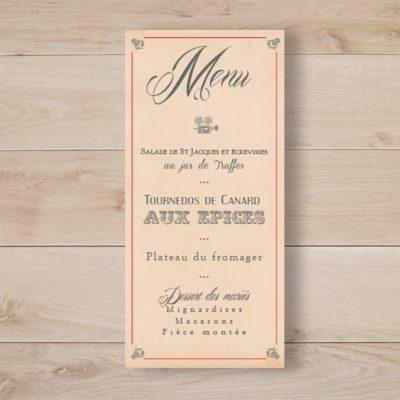 menu mariage cinema vintage kraft retro