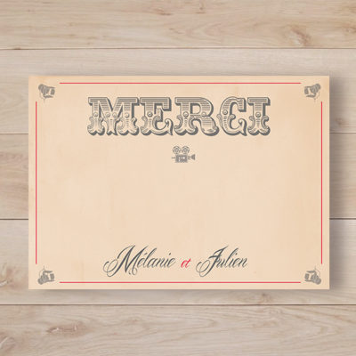remerciement mariage cinema vintage kraft retro