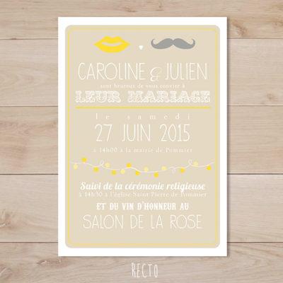 faire part mariage jaune et beige moustache