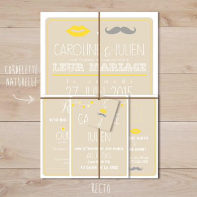 Faire part mariage jaune et beige retro