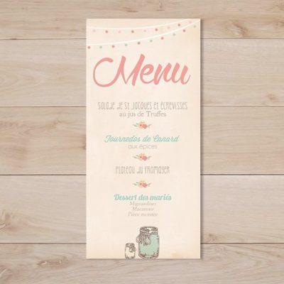 menu mariage mason jar vintage mint corail