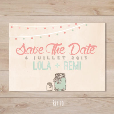 save the date mariage mason jar vintage corail