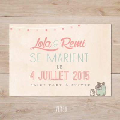 save the date mariage mason jar vintage mint corail