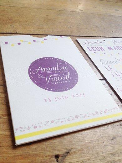 26-fairepart-mariage-pochette-violet-jaune-retro